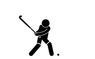 Stick man playing hockey