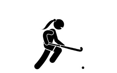 Stick person playing hockey